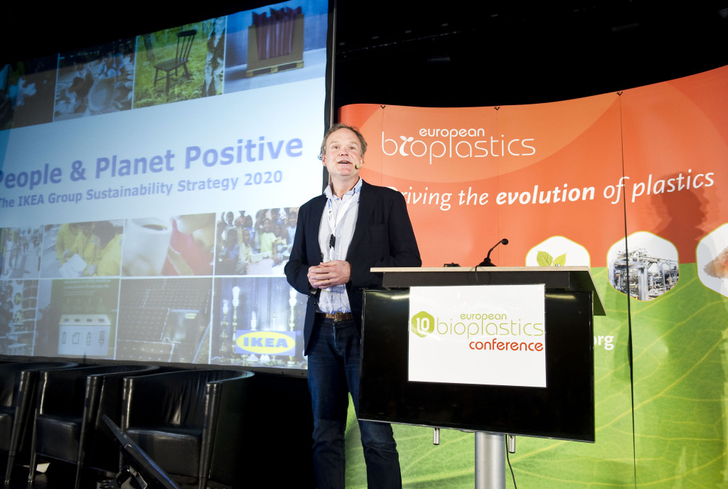 Per Stoltz, Sustainability Developer, IKEA at the 10th European Bioplastics Conference in November 2015 in Berlin, announcing the group's sustainability strategy 2020 including the commitment to make 100 percent of their plastic products from renewable and recycled sources by 2020.