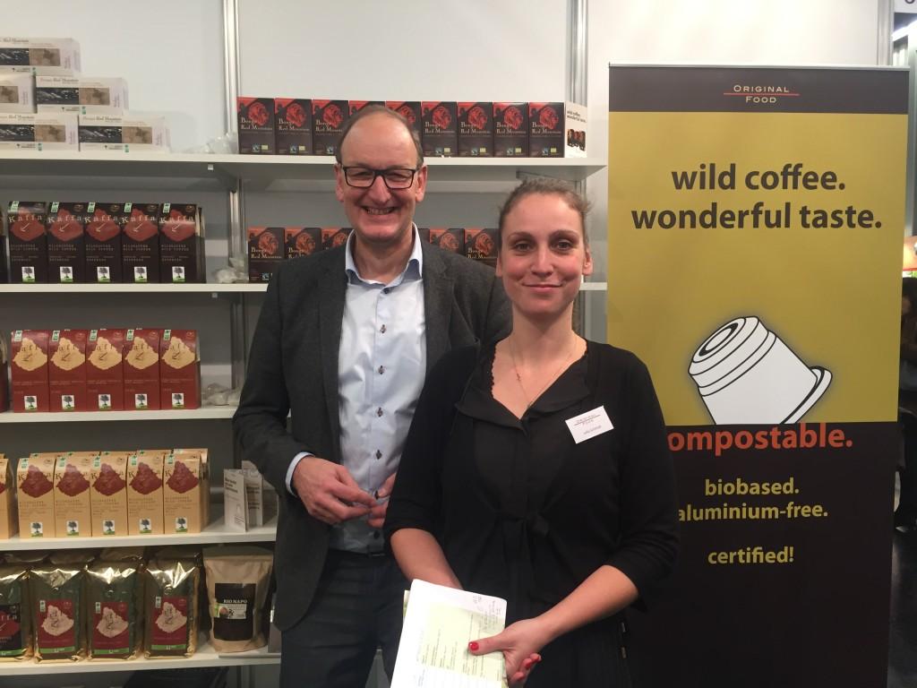 Florian Hammerstein and Julia Schmidt from Original Food at their boot at Biofach 2016