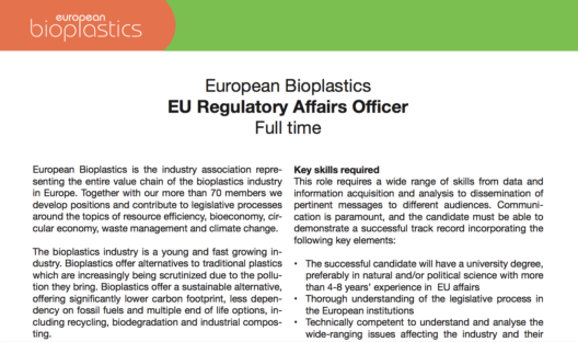 EUBP Job vacancy: EU Regulatory Affairs Officer in Brussels (full time)